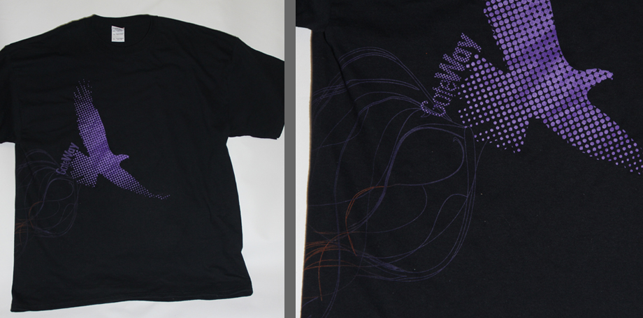 Wrap around screen print on black shirt printed at spectrum apparel printing