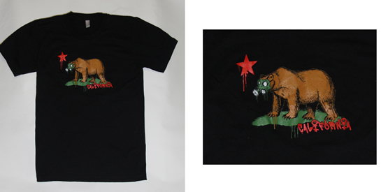 california bear gas mask screen print on a black shirt by Spectrum Apparel Printing