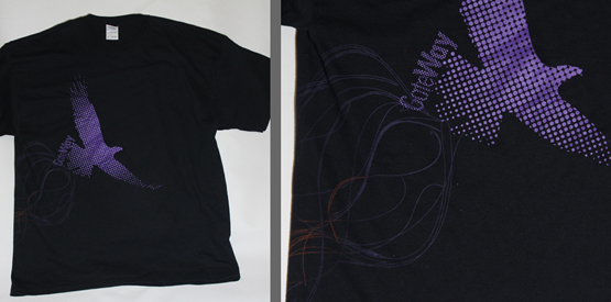 wrap around screen print on a black shirt, printed at specrm apparel printing